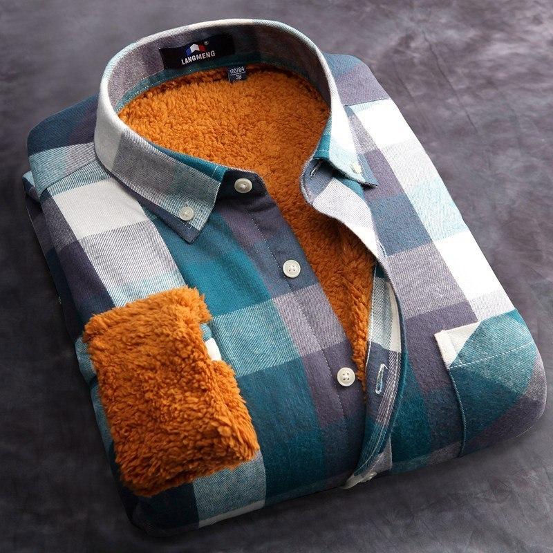 Теплая мужская рубашка из AliExpress