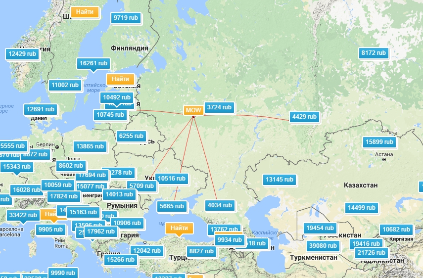 Карта низких цен в AviaSales