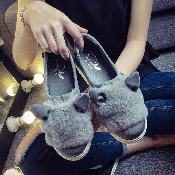 Тёплые туфли с ушками из AliExpress