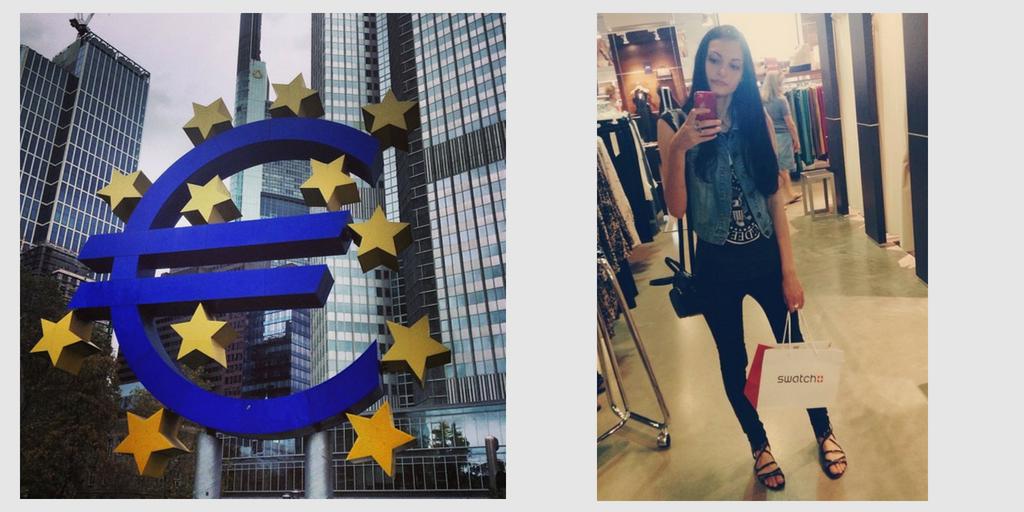 Шопинг в Германии и памятник евро перед Европейским центральным банком